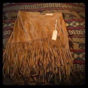 Brand new never worn fringe micro suede skirt
